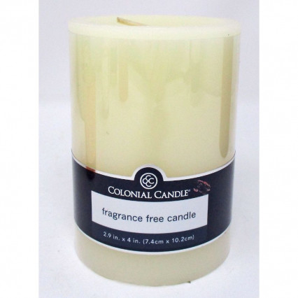 "Pillar Candle Unscented Ivory 3""x4"""