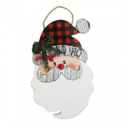 Santa Claus Galvanized and Wooden Christmas Hanging Sign