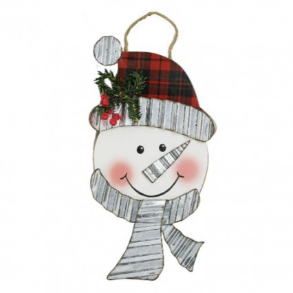 Snowman Galvanized and Wooden Christmas Hanging Sign