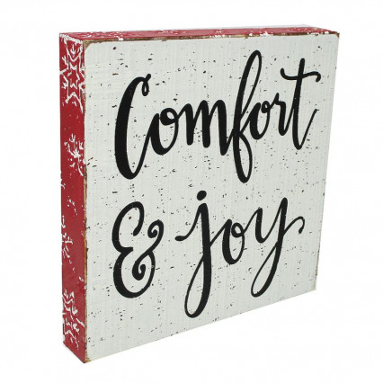 Comfort and Joy Christmas Block Hanging Sign