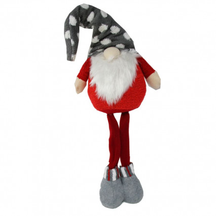 Gnome Standing with Gray Christmas Hat