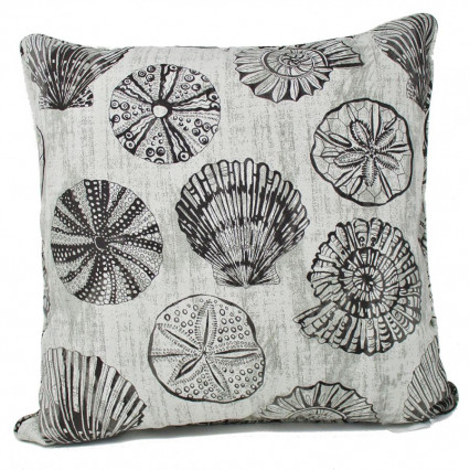 "17"" Seashell Stone Indoor Outdoor Accent Throw Pillow"