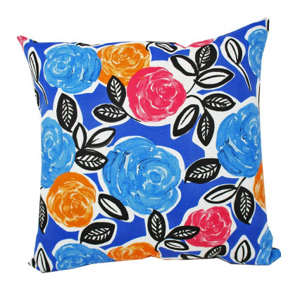 "17"" Bold Floral Indoor Outdoor Accent Throw Pillow"