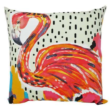 "17"" Lets Flamingle Indoor Outdoor Accent Throw Pillow"