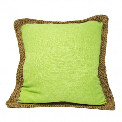 "20"" Lime Green Accent Throw Pillow with Jute Trim"