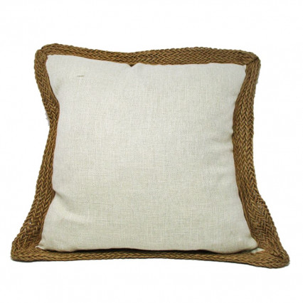 "20"" Snow White Accent Throw Pillow with Jute Trim"