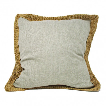 "20"" Stone Beige Accent Throw Pillow with Jute Trim"