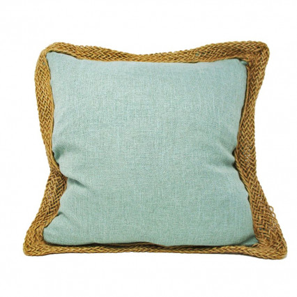 "20"" Teal Blue Accent Throw Pillow with Jute Trim"