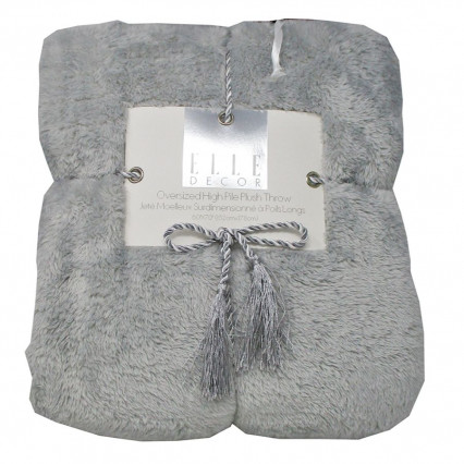Oversized High Pile Plush Throw Blanket Gray