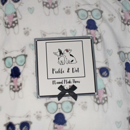 Cats and Ice Cream Flannel Plush Throw