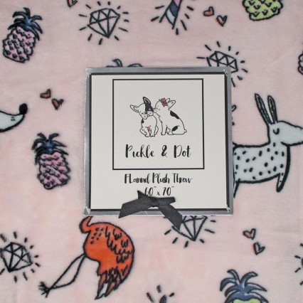 "Flannel Plush Throw Blanket - 60""x70"" Pineapple"