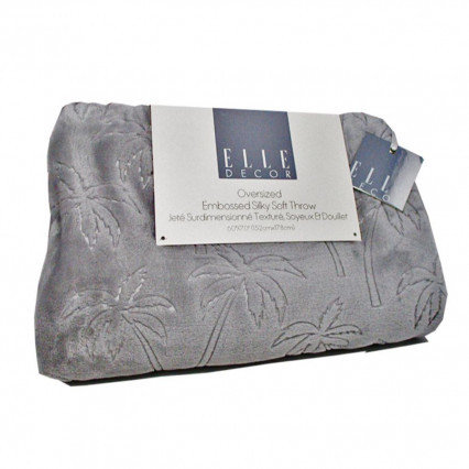 Oversized Embossed Throw Blanket Gray