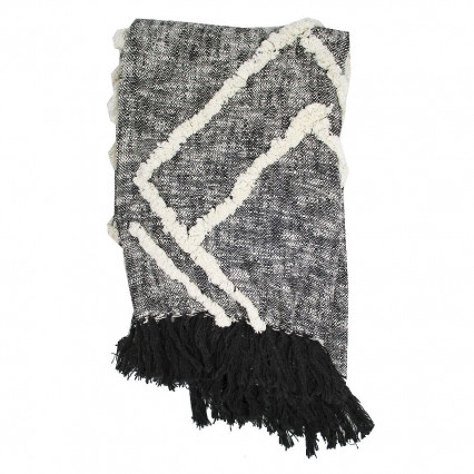 Cotton Throw Black with Natural Accent and Fringe