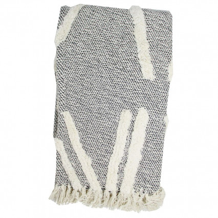 Cotton Throw Gray with Natural Accent and Fringe