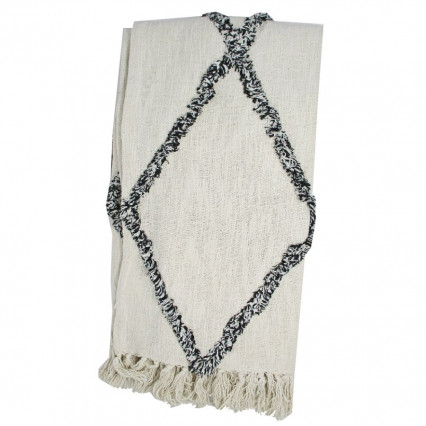 Cotton Throw Natural with Black Diamond Accent and Fringe