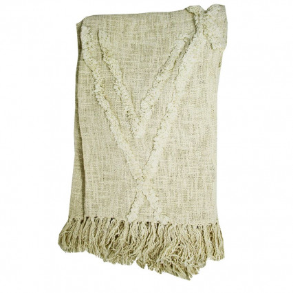 Cotton Throw Natural with Natural Accent and Fringe