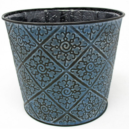 Blue and Black Patterned Metal Planter 6""
