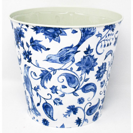 Blue Floral with Bird Metal Planter