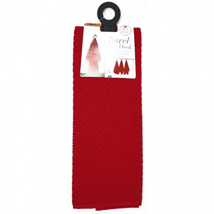 Hanging Towel with Attached Rubber Hook - Paprika