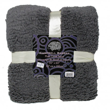 Plush Throw Blanket Medium Gray