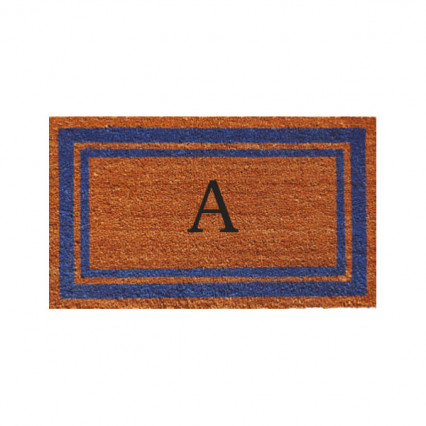 Blue Border Monogram Doormat