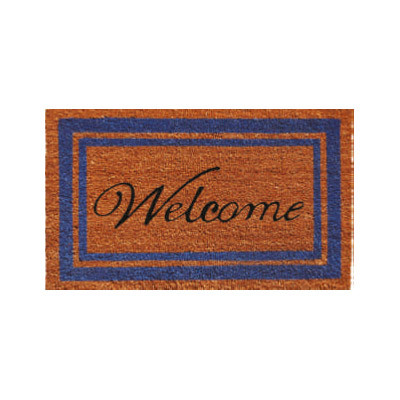 Blue Border Welcome Doormat - 2' x 3'