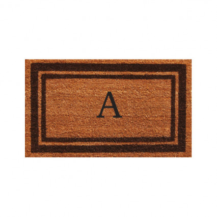 Brown Border Monogram Doormat
