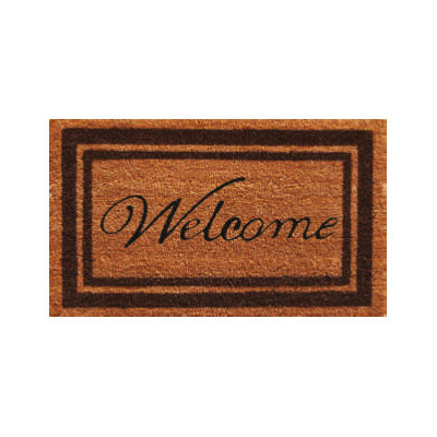 Brown Border Welcome Doormat - 2' x 3'