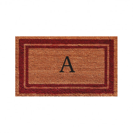 Burgundy Border Monogram Doormat