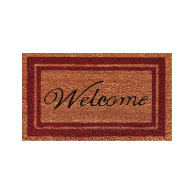 Burgundy Border Welcome Doormat - 2' x 3'