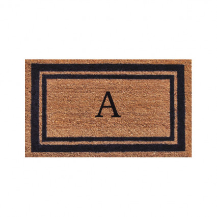 Dark Blue Border Monogram Doormat