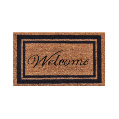 Dark Blue Border Welcome Doormat - 2' x 3'
