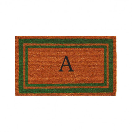 Green Border Monogram Doormat
