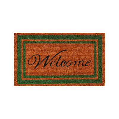 Green Border Welcome Doormat - 2' x 3'
