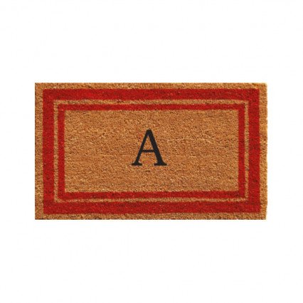 Red Border Monogram Doormat