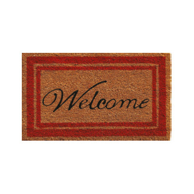 Red Border Welcome Doormat - 2' x 3'