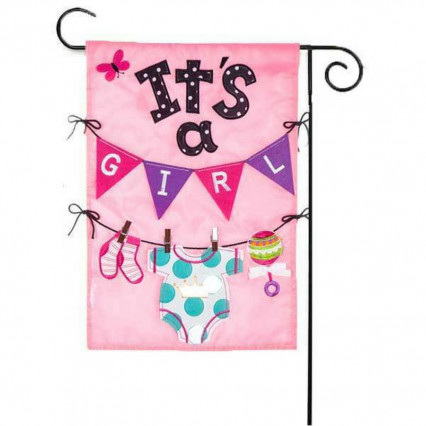 It's A Girl Appliqué Garden Flag