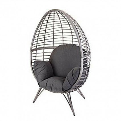 Rattan Egg Chair with Stand and Cushion - Grey