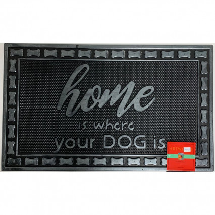 """Home Is Where the Dog Is"" Rubber Doormat"