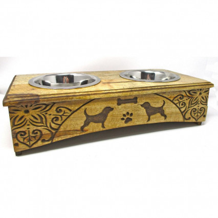 Engraved Wooden Pet Bowl