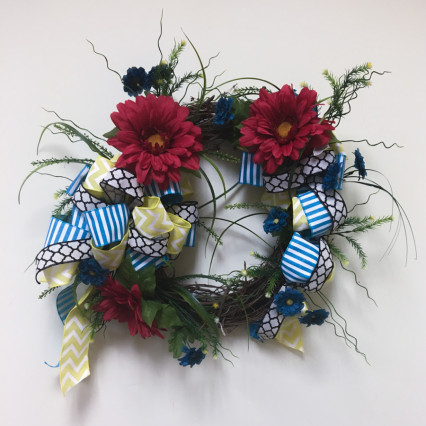 Red & Blue Floral Grapevine Wreath