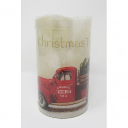 Red Vintage Truck Flameless LED Christmas Candle