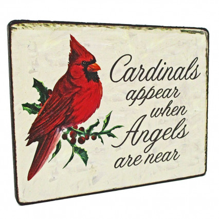 Cardinals Appear Christmas Hanging Sign
