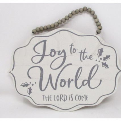 Joy to the World Christmas Beaded Wooden Hanging Sign