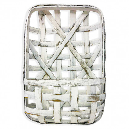 "Tobacco Basket With Pocket - 20"" White"