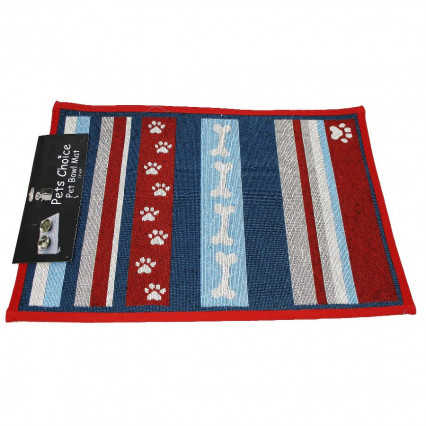 Dog Paw Print Pet Bowl Mat Blue and Red Design