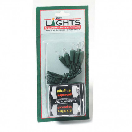 Mini Battery Operated Clear Lights Green