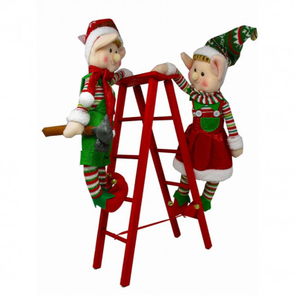 Plush Elves on Wooden Ladder