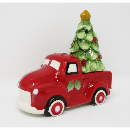 Red Vintage Truck Christmas Tree Salt and Pepper Set