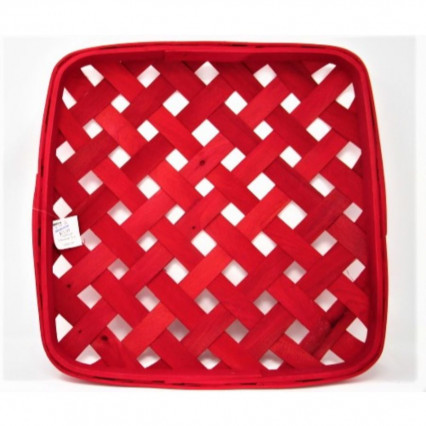 "Tobacco Basket - 14"" Square Red"